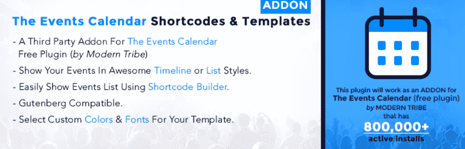 The Events Calendar Shortcode and Templates Addon WordPress